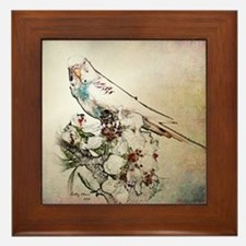 Parakeet 003 - Perched on Branch Framed Tile