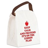 Keep calm and pretend its on the lesson plan Canvas Lunch Bag