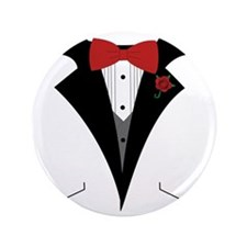 """White Dinner Tuxedo t Shirt 3.5"""" Button"""