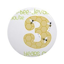 3 Year Old Honey Bee Round Ornament