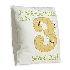 3 Year Old Honey Bee Burlap Throw Pillow