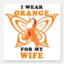 "I Wear Orange for my Wif Square Car Magnet 3"" x 3"""