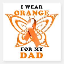 "I Wear Orange for my Dad Square Car Magnet 3"" x 3"""