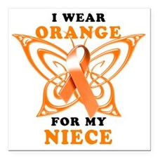 "I Wear Orange for my Nie Square Car Magnet 3"" x 3"""
