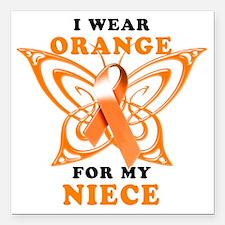 "I Wear Orange for my Nie Square Car Magnet 3"" x 3"""