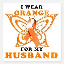 "I Wear Orange for my Hus Square Car Magnet 3"" x 3"""