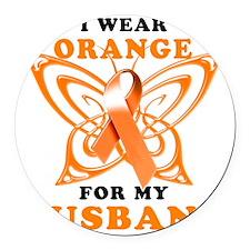 I Wear Orange for my Husband Round Car Magnet