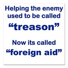 "HELPING THE ENEMY USED T Square Car Magnet 3"" x 3"""