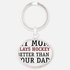 Hockey mom Oval Keychain