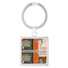 Napkins with Sports Fan with equip Square Keychain