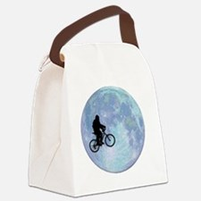 Sasquatch On Bike In Sky With Moo Canvas Lunch Bag