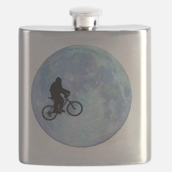 Sasquatch On Bike In Sky With Moon Flask