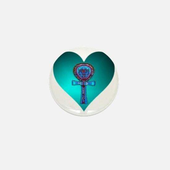Love Life Blue Sapphire Ankh Heart Mini Button