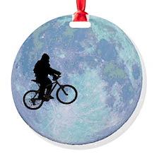 Sasquatch On Bike In Sky Against Mo Ornament