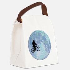 Sasquatch On Bike In Sky Against  Canvas Lunch Bag