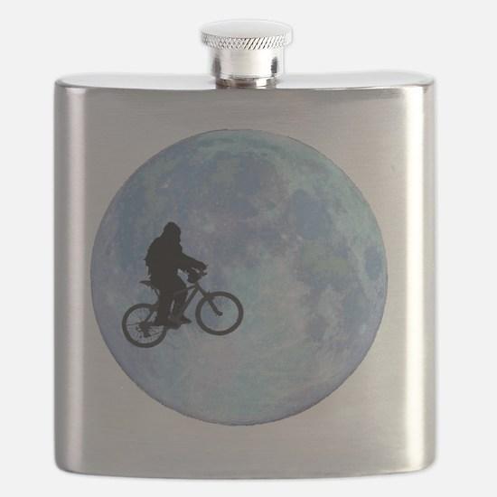 Sasquatch On Bike In Sky Against Moon Flask