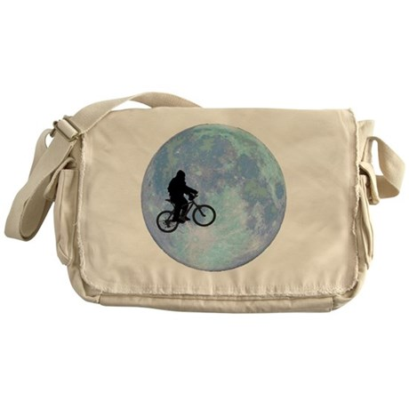 Sasquatch On Bike In Sky With Moon Messenger Bag