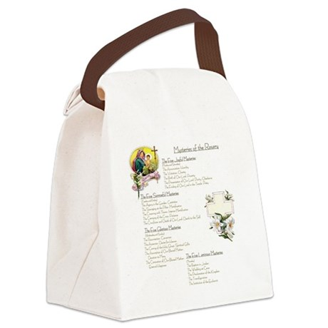 Mysteries of the Rosary Large Canvas Lunch Bag