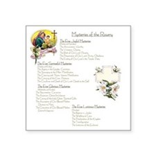 """Mysteries of the Rosary Lar Square Sticker 3"""" x 3"""""""