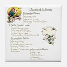 Mysteries of the Rosary Large Tile Coaster
