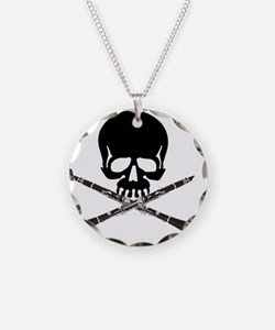 Skull with Clarinets Necklace Circle Charm