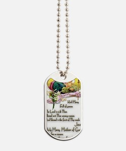 Hail Mary Prayer Card Dog Tags