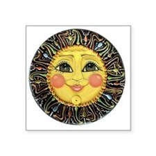 "PLATE-SunFace-Black-rev Square Sticker 3"" x 3"""