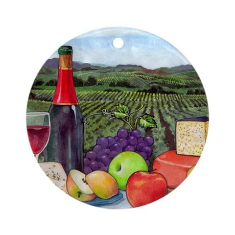 Wine Cheese landscape Round Ornament