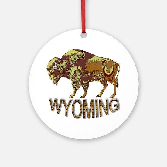 Wyoming state crest e3 Round Ornament