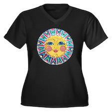 PLATE-Spring Women's Plus Size Dark V-Neck T-Shirt