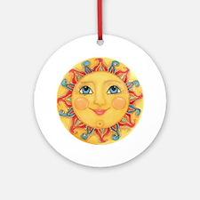 PLATE-Sun-Red-goldballs-rev Round Ornament