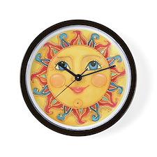 PLATE-Sun-Red-goldballs-rev Wall Clock