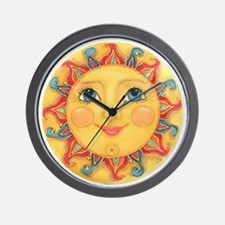 PLATE-Sun-Red-goldballs-rev Wall Clock