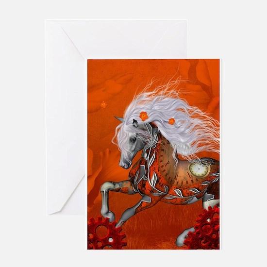 Steampunk, wonderful wild steampunk horse Greeting
