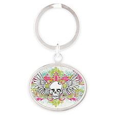 Winged Skull Oval Keychain