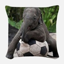 Elephant Soccer Woven Throw Pillow