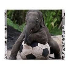 Elephant Soccer Throw Blanket