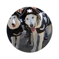 white shepherds Round Ornament