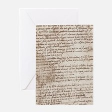 Leonardo Da Vincis Handwriting Greeting Card