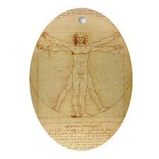 Da Vincis Vitruvian Man Oval Ornament