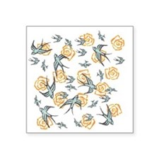 """Swallows And Flowers Square Sticker 3"""" x 3"""""""