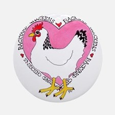 Backyard Chicken Luv Round Ornament