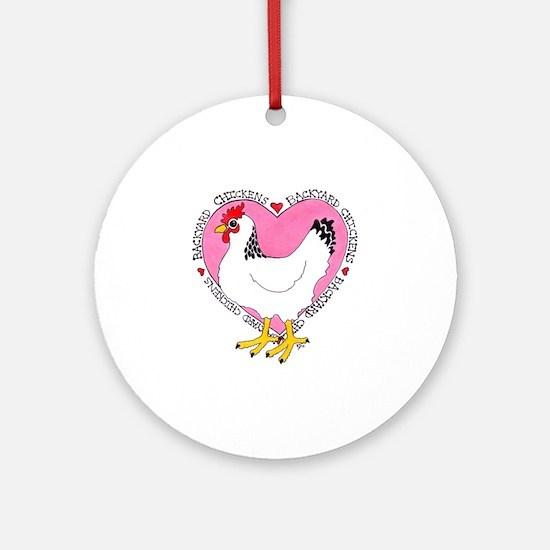 Backyard Chicken Luv Round Ornament