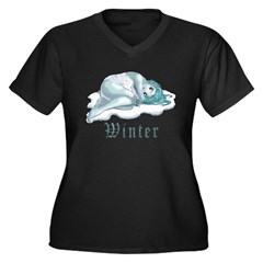 WINTER Women's Plus Size V-Neck Dark T-Shirt