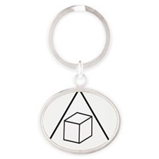 Triangle-Cube Oval Keychain