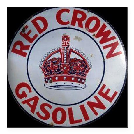 "Red Crown Gasoline Square Car Magnet 3"" x 3"""