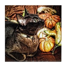 Cat with Gourds Tile Coaster