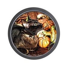 Cat with Gourds Wall Clock