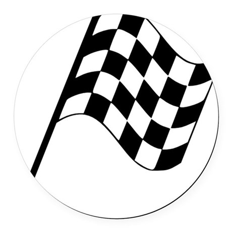 Racing Flag Round Car Magnet