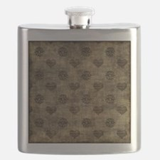 Brown Hearts Flask